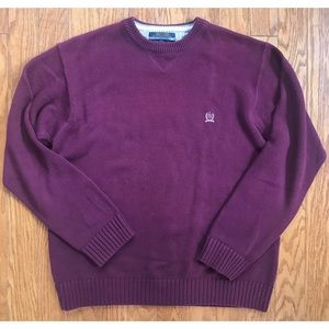 Tommy Hilfiger Burgundy Crew Neck Sweater